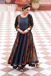 Picture of Multicolour Designer Partywear Digital Printed Heavy cotton Kurti