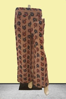 Picture of Peacock printed peach designer palazzos