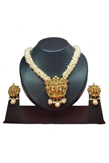 Picture of Monumental Silver with gold plated necklace set