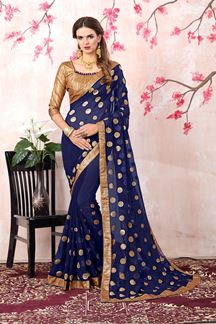 Picture of Gorgeous deep blue designer saree