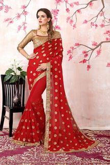 Picture of Stunning red designer saree with motifs