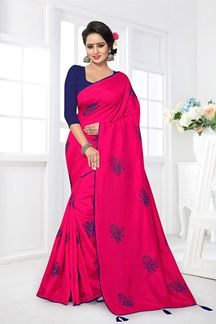 Picture of Trendy pink designer saree with resham
