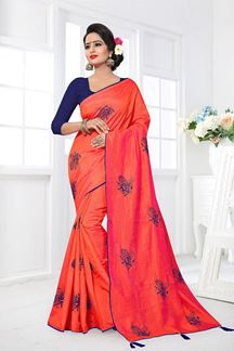 Picture of Glorious orange designer saree with pink