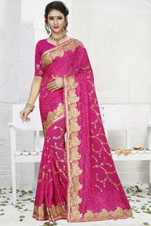Picture of Lovely pink designer saree with resham