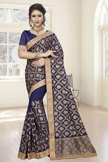 Picture of Ravishing dark blue designer saree