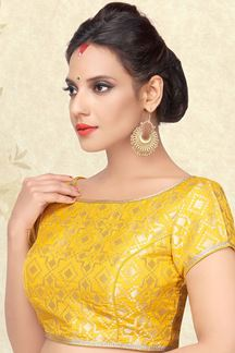 Picture of Flashy yellow designer blouse with self