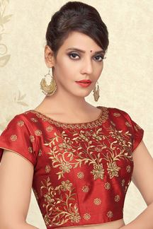 Picture of Dull red designer blouse with zari work