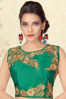 Picture of Sensational green designer plain blouse