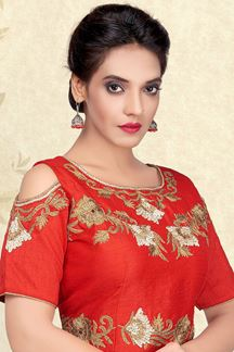 Picture of Dazzling red designer blouse with zari