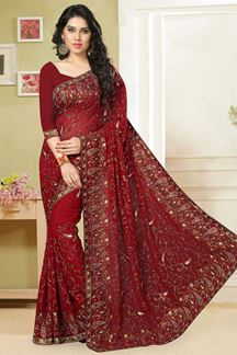 Picture of Deep red georgette saree with resham work