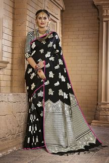 Picture of Catchy black designer saree with motifs