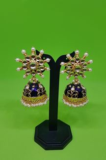 Picture of Purple color earrings embellished with pearls