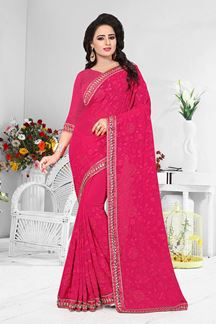 Picture of Delightful pink designer saree with self