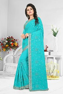 Picture of Fabulous blue designer self resham saree