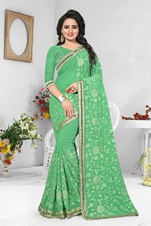 Picture of Pale green designer saree with resham
