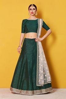 Picture of Enriching deep green designer lehenga choli set