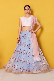 Picture of Glorious pink and grey pastel lehenga choli
