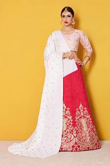 Picture of Glamorous Pink and Peach Designer Lehenga Choli Set