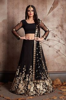Picture of Outstanding black designer lehenga choli set