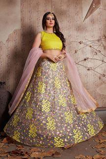 Picture of Glamorous yellow and pink designer lehenga choli set