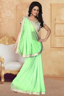 Picture of Ecstatic light green designer plain saree