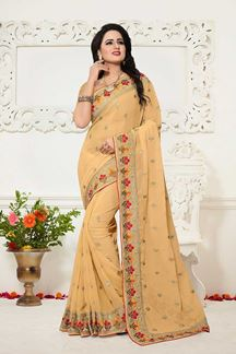 Picture of Classy pale yellow designer sheer saree
