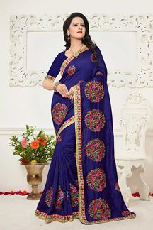 Picture of Heavenly royal blue designer saree