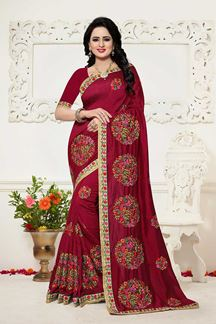 Picture of Stunning maroon designer sheer saree