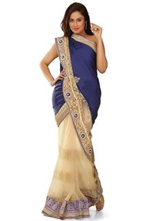Picture of Stunning wedding wear blue & beige color saree