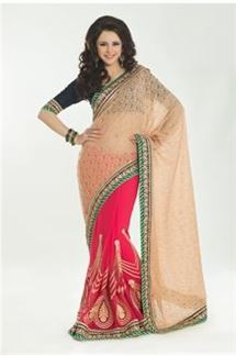 Picture of Wedding wear beige & pink color saree