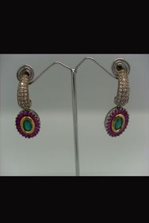 Picture of Royal pink & green earrings with emerald work