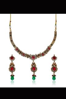 Picture of Differently designed red & green color necklace set