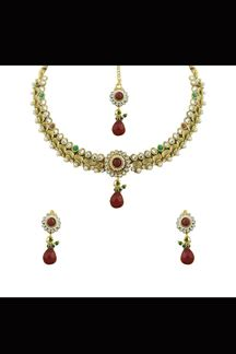 Picture of Amazing red & green party wear necklace set