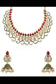 Picture of Elegant pink & green color rasrawa necklace set