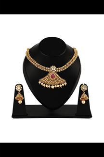Picture of Classy pink color ethnic wear pendant set