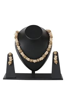 Picture of Pearl & antique work golden color necklace set