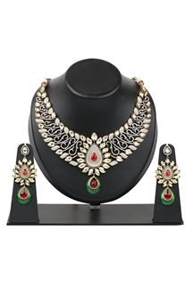 Picture of Red & green stylish bridal wear necklace set