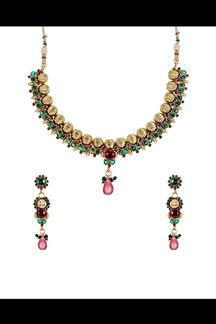 Picture of Magnetic green & red necklace set