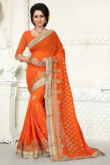 Picture of Striking orange georgette saree with zari