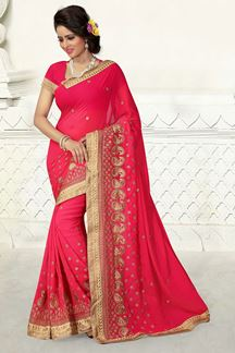 Picture of Enticing pink saree with zari embroidery