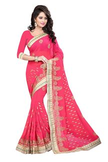 Picture of Alluring pink georgette saree with zari