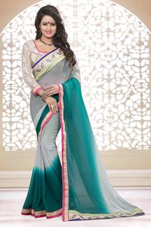 Picture of Glorious grey & green georgette saree