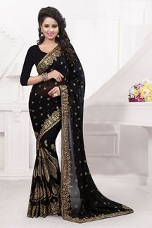 Picture of Exclusive black georgette saree with zari