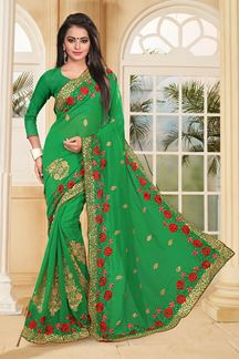 Picture of Classic green saree with red resham