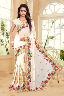 Picture of Serene off-white saree with resham work