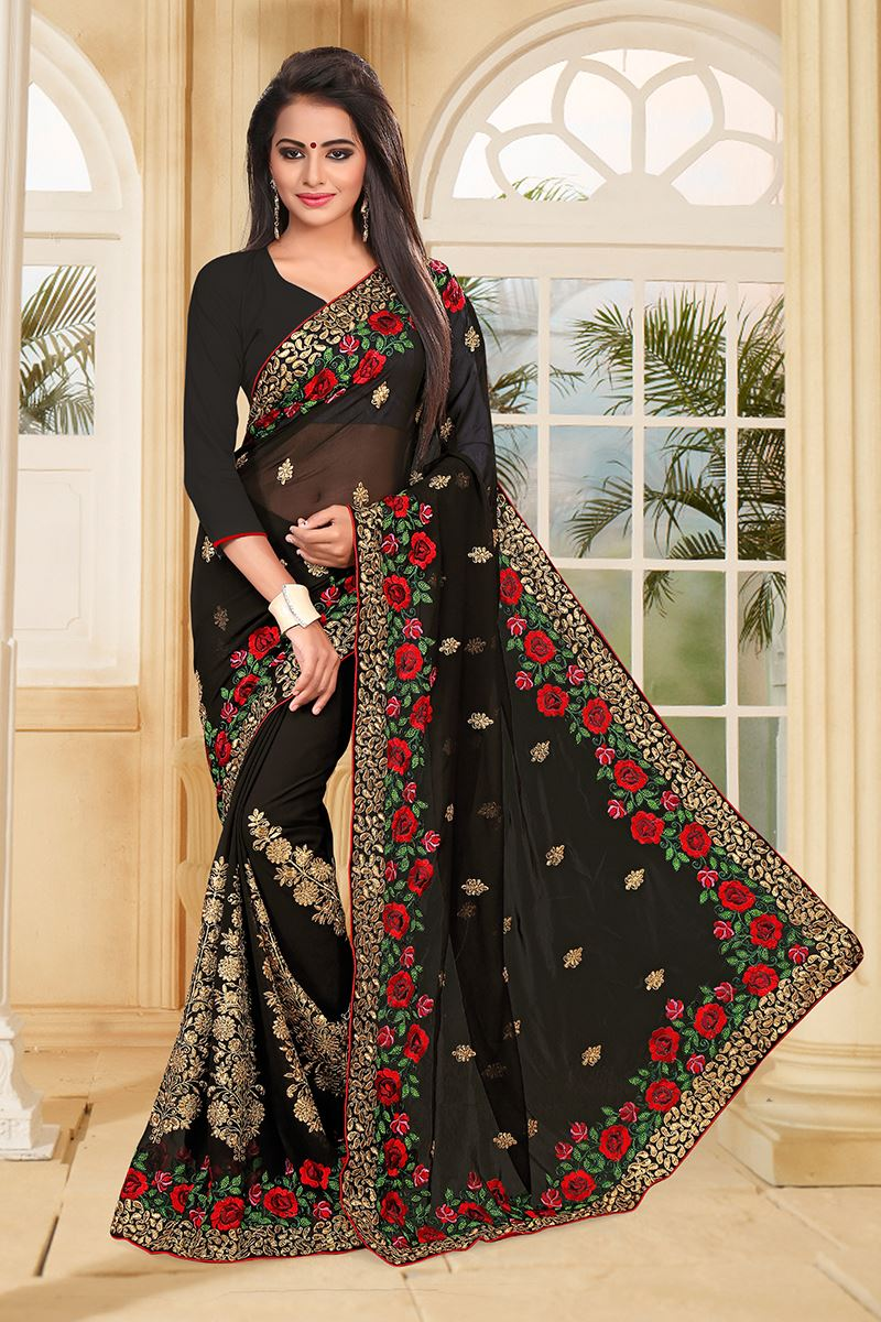 beaaf9b56b6c83 Picture of Bold black saree with red   green resham