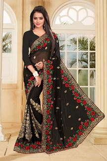 Picture of Bold black saree with red & green resham