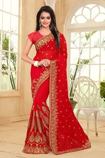 Picture of Regal red designer saree with zari work