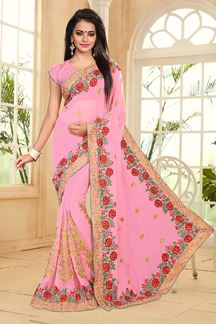 Picture of Enchanting pink saree with resham work