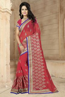 Picture of Gripping light red saree with zari work